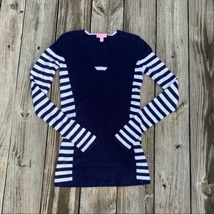 Lilly Pulitzer Navy Blue and White Striped Sweater